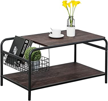 Rustic Coffee Tables with Storage Wood Living Room Tables Industrial Metal Shelf Modern Vintage Sofa Side Tables Cocktail Space Saving Organizer, Walnut Black
