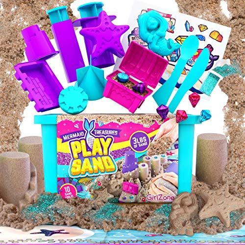 GirlZone Mermaid Treasures Play Sand for Kids, 3lbs of Magic Sand for Kids...
