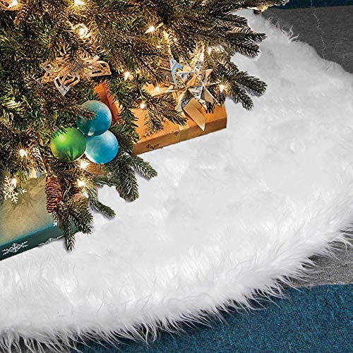 arekeke Tappeto per Albero di Natale, Gonna Copertura di Base Bianco Peluche Pannello Esterno Albero Natale per Decorazione di Festa di Natale (90cm)