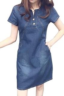 d7a55ae302c72a Le Maniche Corte Mini Vestito Casual Estiva Denim Jeans Taglia