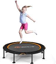 COSTWAY 120cm Opvouwbare trampoline, fitness trampoline opstuiter met veiligheids doppen en duurzame bungee koorden, stil ...