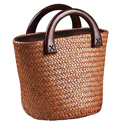 2020 Nuevo bolso de paja de verano con mango de madera para mujer/niña, bolso hecho por Straw para viajes a la playa y uso diario