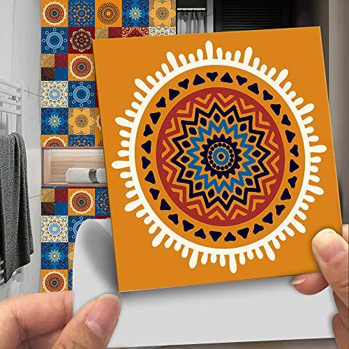 Pegatinas para azulejos Adhesivos para azulejos estilo mosaico Calcomanías resistentes al agua y aceite Autoadhesivas de PVC- Arte de decoración de pared(Patrón D 15CM X 10CM X 10PCS)