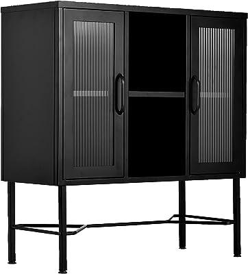 MEUBLE COSY Buffet Cuisine Grand Espace Armoire Chambre métallique 3 Couches Meubles de Rangement pour Salon 2 Portes, Noir, 85x35x90cm