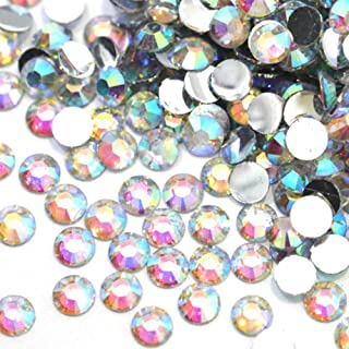 Zbella 3,000 Piece Resin 14-Facet Flat Back Round Rhinestones, Many Sizes and Colors for Crafts, Clothing, Nail Art, Decorations, Shoes, and Clothes (4mm, Crystal AB)