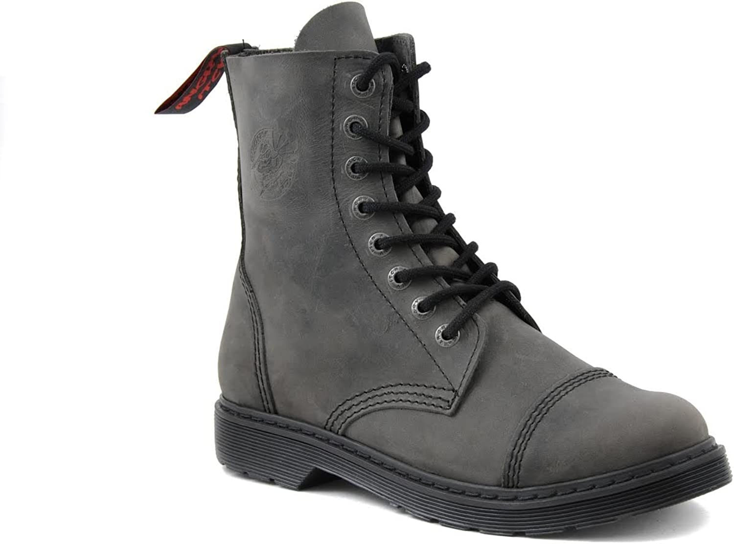 Angry Itch Combat Boots Vintage Grey Leather Soft Unisex Ladies Men's 8 Eye Military Army Punk Ranger