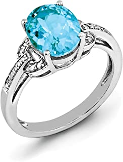 Sterling Silver Polished Prong set Rhodium-plated Diamond and Oval Blue Topaz Ring - Ring Size Options Range: J to T
