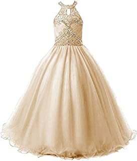 Girls Princess Tulle Beaded Jewel Ball Gowns Flower Girl Pageant Dresses