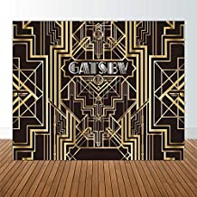 Allenjoy 10x8ft Great Gatsby Backdrops for Photography Birthday Children Adults Roaring 20s Graduation Theme Party Black and Gold Golden Banner Photo Studio Booth Background Photocall New Year NYE