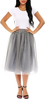 FISOUL Women's Skirt A Line Short Knee Length Tutu Tulle Prom Party Skirt