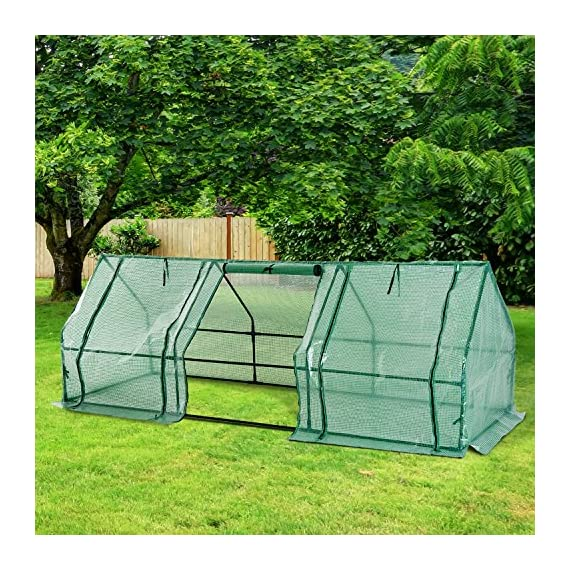Outsunny 9' l x 3' w x 3' h portable tunnel greenhouse outdoor garden mini hot house with large zipper doors, water/uv… 3 ✅protect plants from the elements: bring all of your plants together in a unified and protected space with our garden greenhouse. Having everything in one place means our plant nursery helps you manage and grow your plants, fruits, vegetables, and flowers all year round. ✅updated design with 3 large doors: the 3 side doors of our plant nursery can be completely opened and rolled up with ties, thereby making a larger space & creating better ventilation. ✅let and keep the good stuff in: this small hot house features a pe mesh grid cover that is sun and water fighting to help protect plants while allowing nourishing sunlight to pass through. Furthermore, the cover helps retain heat during colder months.