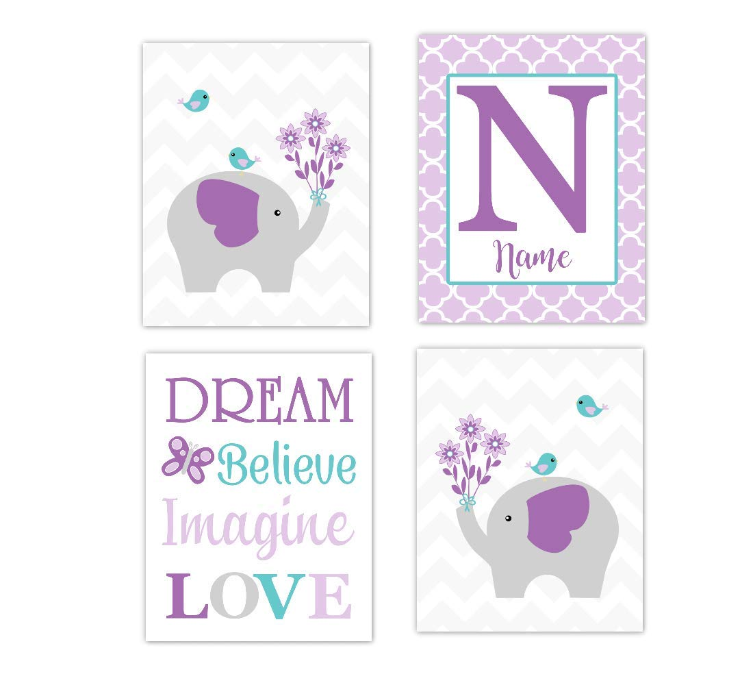 Baby Girl Max 46% OFF Nursery Wall Art Elephant Aqua Max 70% OFF Pe Lavender Teal Purple