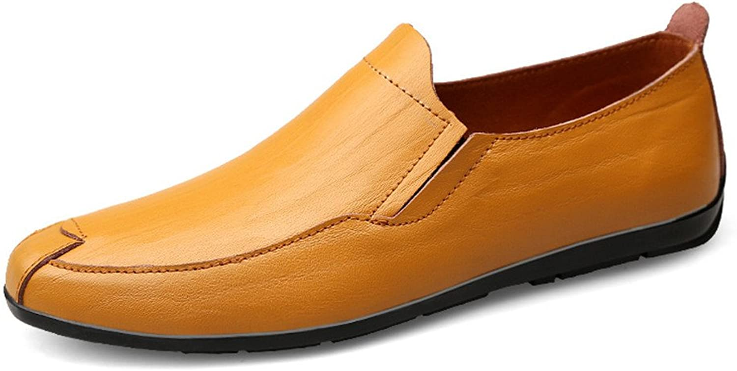 XHD- Classic shoes Men's Comfortable Flat Heel Moccasins Genuine Leather Vamp Slip on Driving Style Loafer
