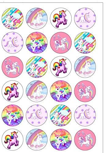 24 vorgeschnittene Kuchendekorationen aus essbarem Oblatenpapier mit süßem Einhorn, Regenbogen