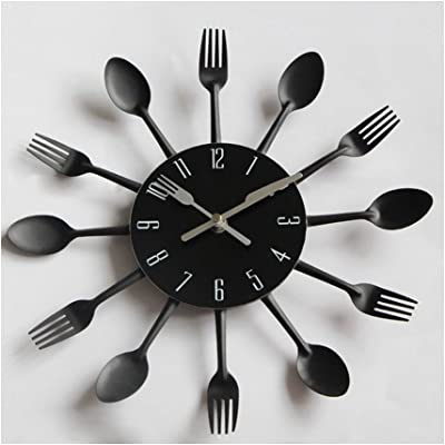 CutePaw Creative Arabic Numerals Clock--Knife and Fork Stainless Steel Metal Quartz Material Wall
