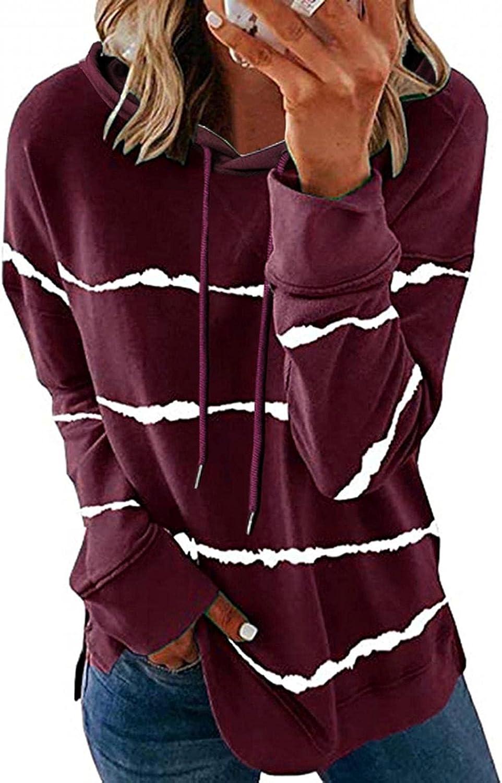 Sweatshirts for Women,Hoodies for Women Casual Stripe Print Long Sleeve Pullover Drawstring Tops