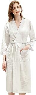 Sponsored Ad - Summer Waffle Bathrobe Sleepwear Bath Robes For Ladies Men Lounge Wear