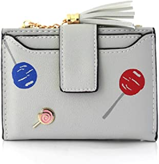 Lollipop Printed Leather Wallet for Women Multipurpose Purse Organizer (Color : Gray)
