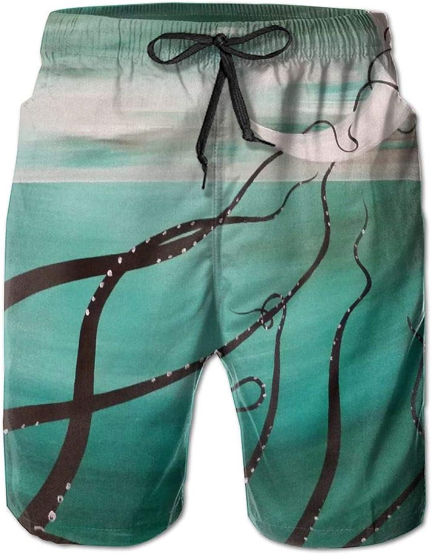 Men's Shorts Art MoonBeach Board Short Elastic Waist Trunk Quick Dry Swim With Pockets