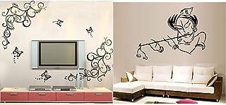 Decals Design 'Lovely Butterflies' Wall Sticker (PVC Vinyl, 90 cm x 30 cm, Black) & StickersKart Wall Stickers Krishna Mod...