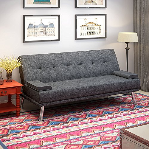 Linen Fabric Sofa Bed 2 to 3 Seater Modern Sleeper Couch Double Padded with 2 Cushions for Lounge Living Room Grey