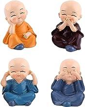 Ouinne 4 stuks kleine monnch figuren, kleine monnik figuren decoratie voor auto tafeldecoratie