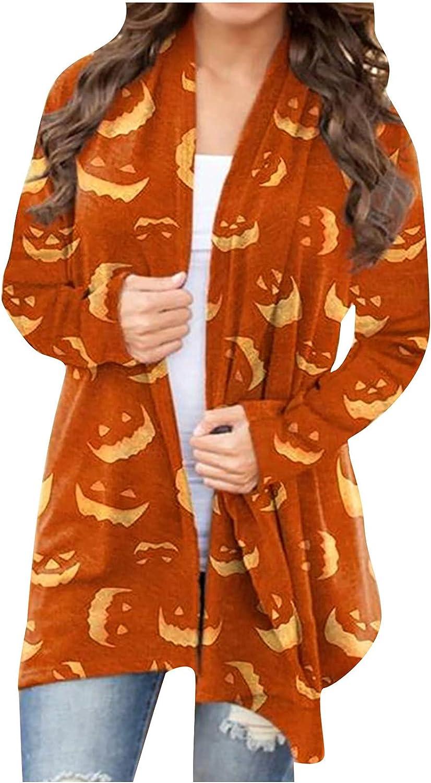 Women's Lightweght Long Sleeve Cardigan Casual Open Front Halloween Pumpkin Face Print Basic Coat