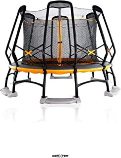 MonxterXT9 14-Foot Round Trampoline with Patent 2-Net Enclosure, Built-In Water Anchor Kit (100% ASTM Safety Compliant & Olympian Trampolinist/Gymnast Certified) in Orange