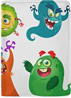 A Host of Creepy Monsters Blocking Print Passport Holder Cover Case Travel Luggage Passport Wallet Card Holder Made with Leather for Men Women Kids Family