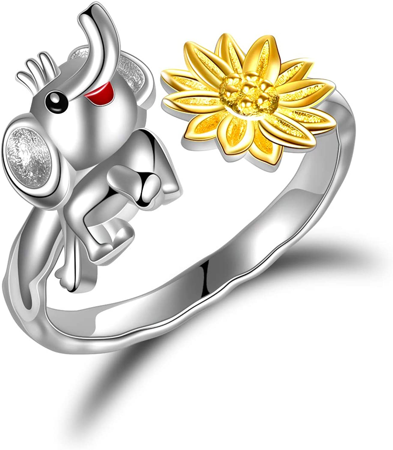 Sloth Ring Sunflower 925 Sterling Cheap super special price Jewe Lovers free Gifts Silver
