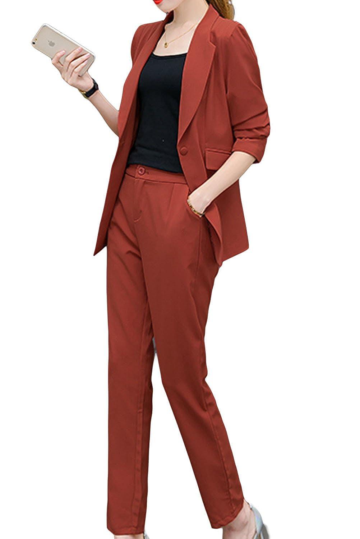 [美しいです] レディース スーツ コート スカート セット 無地 二点セット 折り襟 長袖 レジャー OL スリム 春 秋 ロング丈 就活 通勤 ビジネス用 面接