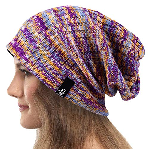 Mujeres Slouchy Gorro Tejer Boina Ribbed Holgado Casquete Invierno Verano Sombrero (Multi Púrpura)
