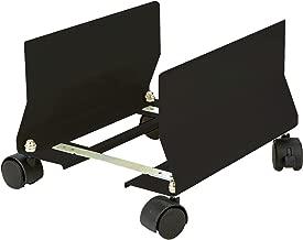 Mind Reader CPUWHEEL-BLK Metal CPU Holder with Wheels, Adjustable Width Mobile Stand, Lockable Wheels, Black