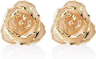 Gold Earrings Studs, ZJchao Women Flower Stud Earrings Dipped 24K Gold Earring Pins Birthday/Anniversary/Valentines Gift for Her