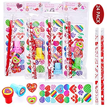 FUNNISM 24 Pack Assorted Valentines Day Stationery Set,Valentine Theme Designs Valentine Party Supplies,Classroom Prizes,Classroom Exchange Gift,Goodie Bag Filler,Valentine Party Favors/Gifts for Kids