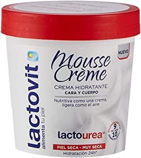 Lactovit - Mousse Crème Hidratante Lactourea para Cuerpo y Cara de 24H Duración para Pieles Secas y Muy Secas - 250 ml