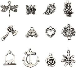 Bingcute 100Pcs Wholesale Bulk Lots Tibetan Silver Plated Mixed Pendants Charms for jewelry making