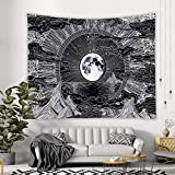 KHKJ Sol Luna Mandala Tapiz Colgante de Pared Celestial Tapiz de Pared Hippie Alfombras de Pared Decoración de Dormitorio Tapiz psicodélico A3 150x130cm