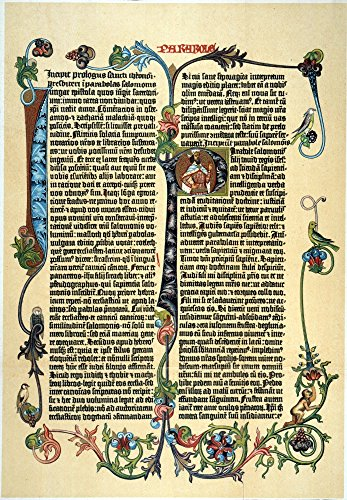 Gutenberg Bible Na Page Of Johann GutenbergS 42-Line Latin Bible Printed At Mainz Between 1453 And 1456 Commentary On The Proverbs Of Solomon Poster Print by (18 x 24)