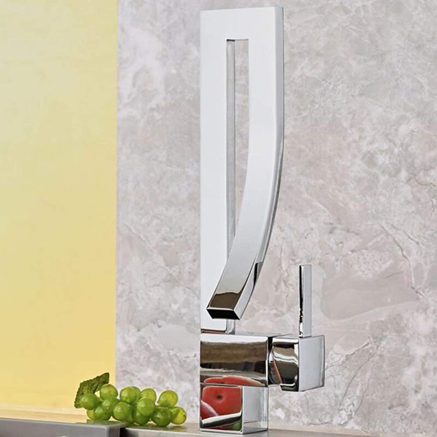 Wide Mouth Waterfall Washroom Single Lever Basin Mixer Tap Brushed Nickel plating Chrome Finish Bathroom Sink Hot Cold Taps Counter Top Basin,SilverFaucet