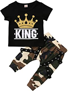 Ma&Baby Toddler Baby Boy Clothes King Short Sleeve Black T-Shirt +Camo Pants Outfits Tops Set (2-3 Years)
