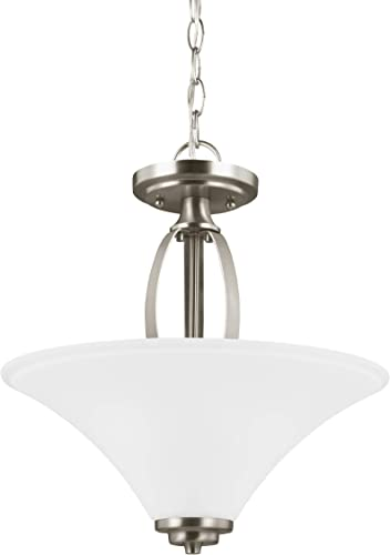 popular Sea Gull Lighting Generation 7713202EN3-962 Transitional Two Light Semi-Flush Convertible Pendant from Seagull-Metcalf lowest Collection in Pewter, Silver Finish, Brushed outlet sale Nickel outlet online sale