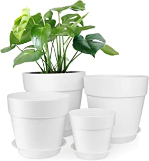 HOMENOTE 7/6.5/5/3.7 inch Plastic Planters Indoor Set of 4 White Plant Pots with Drainage Trays Modern Round Flower pots for House Plants, Succulents, Flowers,Herbs