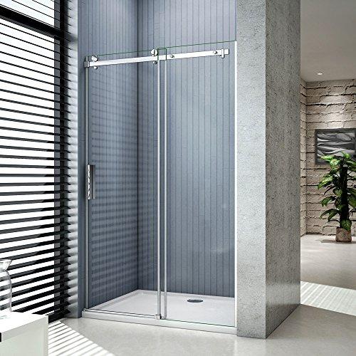 Porte de douche 120x195 cm porte coulissante, cabine de douche coulissante, 8mm verre trempé, vitrification NANO, anticalcaire, installation en niche