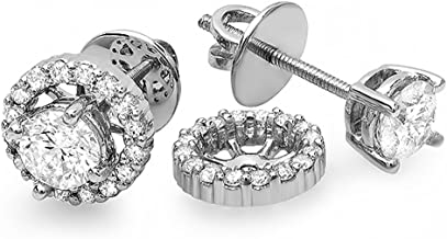 Dazzlingrock Collection 1.00 Carat (ctw) Round Diamond Halo Stud Earrings with Removable Jackets