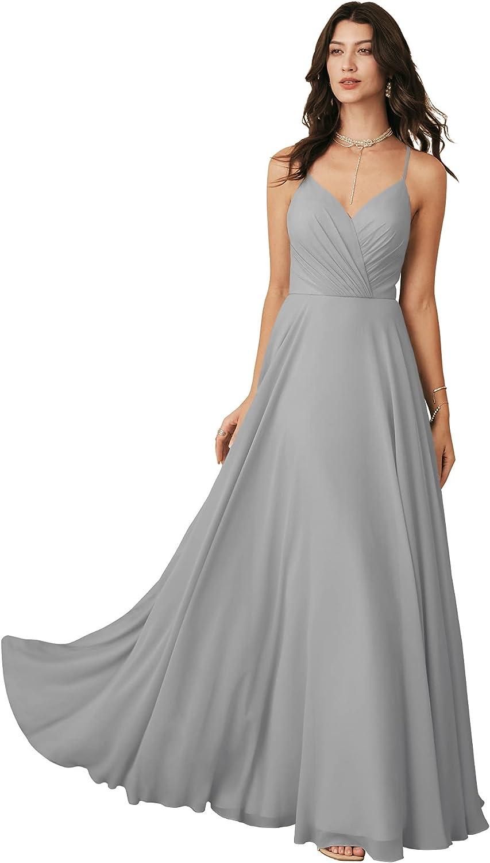 ALICEPUB Spaghetti Strap Chiffon Bridesmaid Dresses Long A-Line Formal Dresses for Women Special Occasion V-Neck