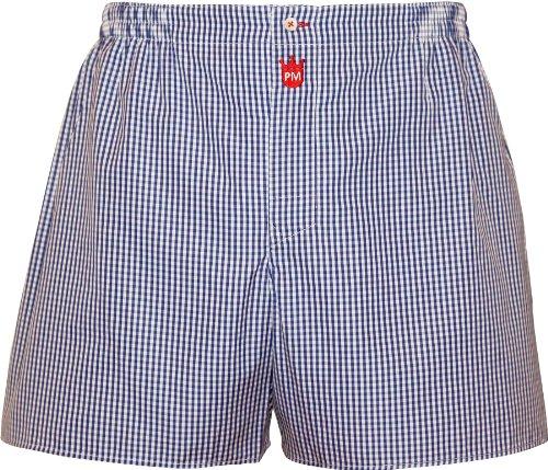 Boxershorts Herren aus Baumwolle: Premium Herren-Unterwäsche Gentleman, durchbrochenes Karo in Marine-Blau - Designer Pants, langes Bein Boxer-Shorts, Gr. L