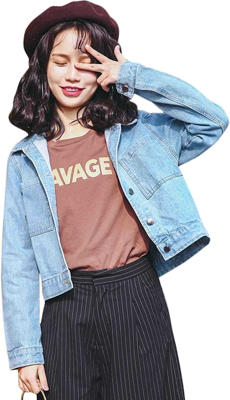 TSINYG Women Long Sleeves Loose Short Denim Jacket ( color   bluee , Size   M )