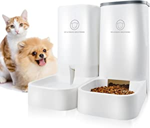 Automatic Pet Feeder and Water Dispenser Gravity Feeder - Automatic Cat Food Dispenser and Water Dog Wet Food and Water Dispenser Set - Auto Multiple Jmiyav Self Cat Feeder Bowl Suitable for Cat Dog