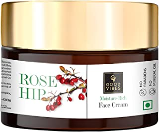 Good Vibes Rosehip Moisture-Rich Face Cream, 50 g Skin Moisturizing Hydrating Light Weight Formula, Soothes & Exfoliates S...